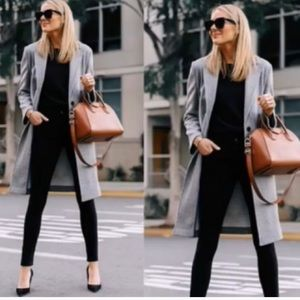 Halston Heritage textured long grey blazer